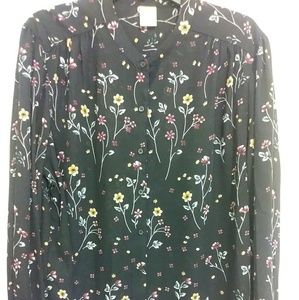 Faded Glory Floral button down Chiffon Blouse
